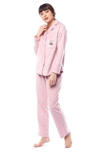 Pamuk & Pamuk Kadın Kalp Desenli Gömlek Pijama Takımı Pembe